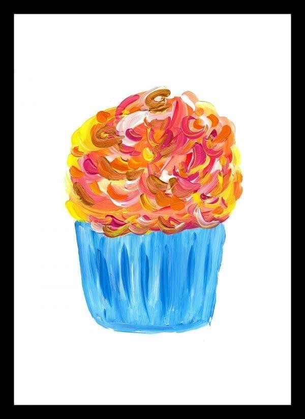 Blue Cupcake Print